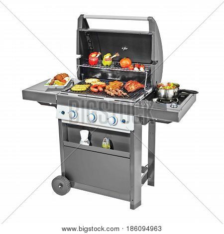 Bbq Grill With Food Isolated On White Background. Black Barbecue Gas Grill.bbq Grillware Gas Grill.