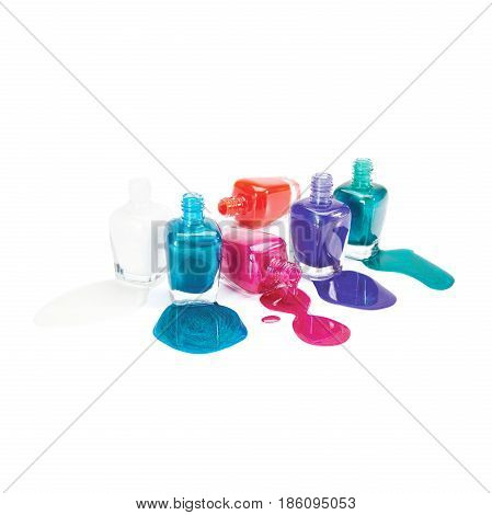 Nail Polish Isolated On White Background. Set Of Bottles Of Lacquer. Collection Of Nail Polish Bottl