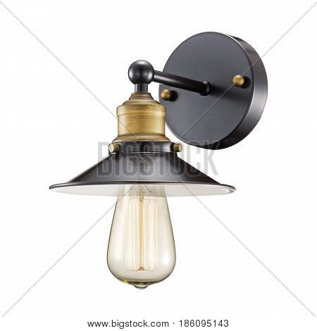 Sconce Isolated On White Background. Metal Light Fixture With Glass Led Bulb