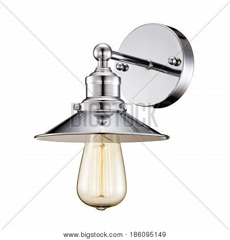 Sconce Isolated On White Background. Stainless Steel Light Fixture With Led Bulb
