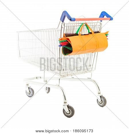Supermarket Cart Isolated On White Background. Empty Supermarket Trolley. Shopping Basket. Side View