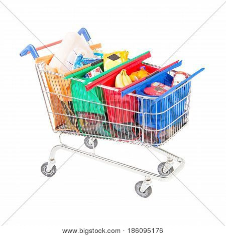 Supermarket Trolley Cart With Groceries Isolated On White Background.  Shopping Cart. Shopping Baske