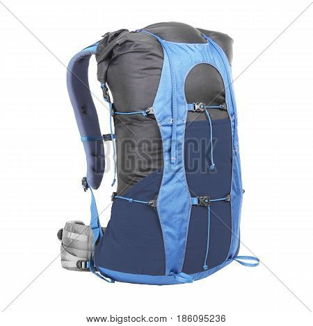 Trekking Rucksack Isolated On White Background. Travel Backpack. Climbing Bag. Bouldering Day Pack.