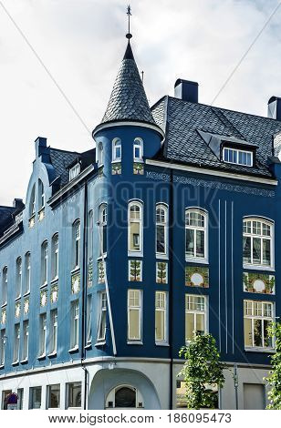 Art nouveau stile building in Alesund, Norway.
