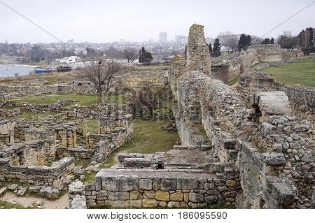 A historical place. Ancient Chersonese.On the shore of the Black sea.Ongoing excavations.Christianity.Crimea.