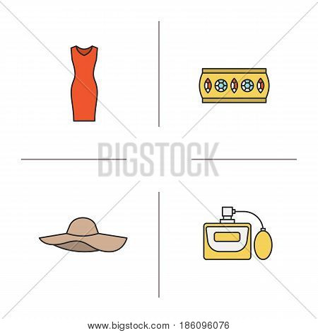 Women's accessories color icons set. Sleeveless evening dress, metal bracelet, hat, perfume. Isolated vector illustrations