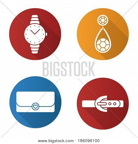 Women's accessories flat design long shadow icons set. Wristwatch, earring, clutch, leather belt. Vector silhouette illustration