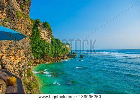 View Of The Cliffs And The Sea In Bali. Indonesia. Uluwatu, Pantai Suluban.