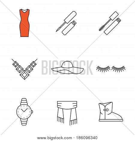 Women's accessories linear icons set. Evening dress, lip gloss, mascara, necklace, hat, eyelashes extension, wristwatch, scarf, warm boot. Thin line contour symbols. Isolated vector illustrations