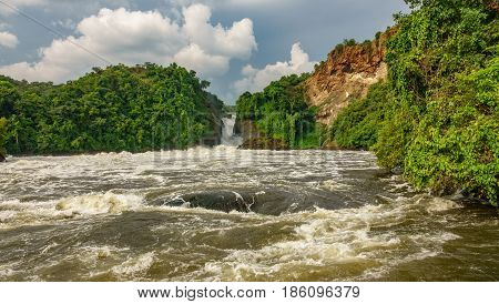 Wide view of Murchison Falls in Nilo River, Uganda, bottom view