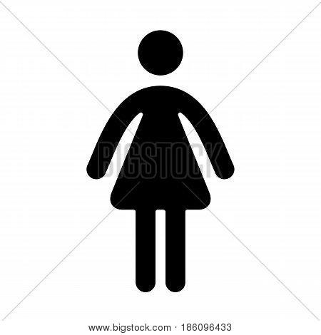 Woman, icon isolated on white background flat style.