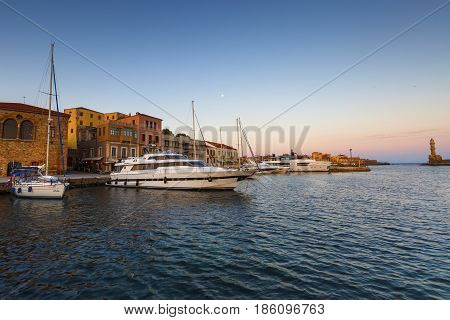CHANIA, GREECE - APRIL 14, 2017: Old Venetian harbor of Chania town on Crete island, Greece on April 14, 2017.