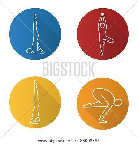Yoga asanas flat linear long shadow icons set. Sarvangasana, vrikshasana, salamba sirsasana, bakasana. Vector line illustration