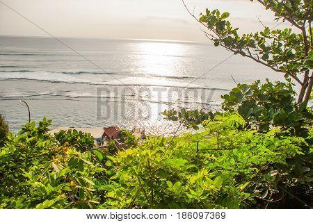 Top View Of The Sea In Bali. Indonesia. Uluwatu, Pantai Suluban.