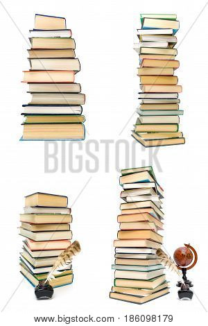 stack of different books on a white background. Vertical photo.
