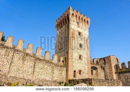 fortified walls of Este castle ruin Padua province Veneto region Italy