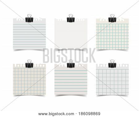 Old fashion sticky notebook paper sheets with paper clips and soft shadow isolated on white background. Reilistic vintage retro vector illustration of squared and lined paper note.