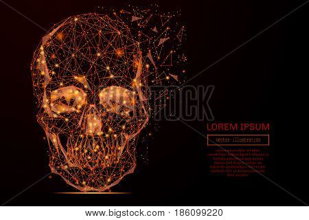 Abstract mash line and point skull in flames style on dark background with an inscription. Vector concept of data protection. Starry sky or space, consisting of stars and the universe.