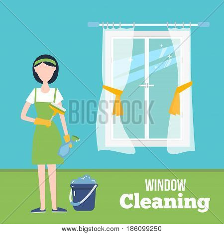 Cleaning window concept illustration with young woman in gloves at home. Housekeeping service with housework supplies and flat window.