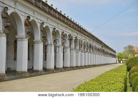 Famous Unesco colonnade in Kromeriz town (in Czech Republic) with its long arched walkway