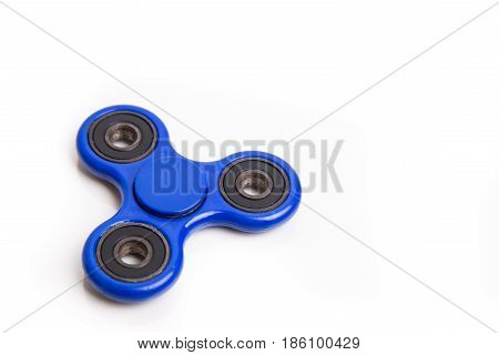 Blue Fidget Spinner In White Background