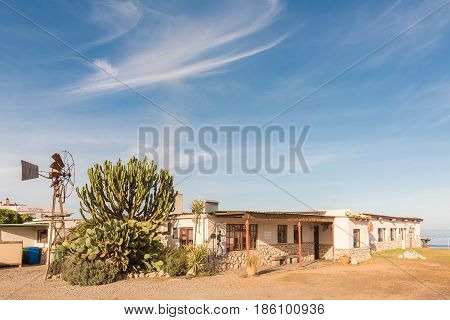 LANGEBAAN SOUTH AFRICA - APRIL 1 2017: A well-known restaurant Boesmanland Plaaskombuis at Mykonos in Langebaan a town on the Atlantic Coast of the Western Cape Province