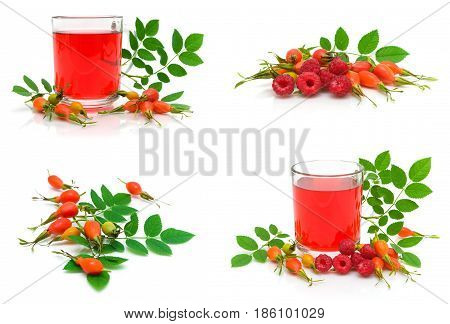 Ripe raspberry wild rose berries and drink on a white background. Horizontal photo.