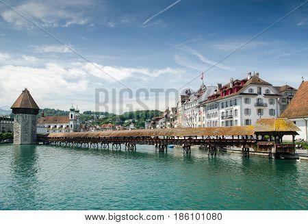 Chapel Bridge Or Kapellbrucke - Covered Wooden Footbridge In Lucerne, Switzerland