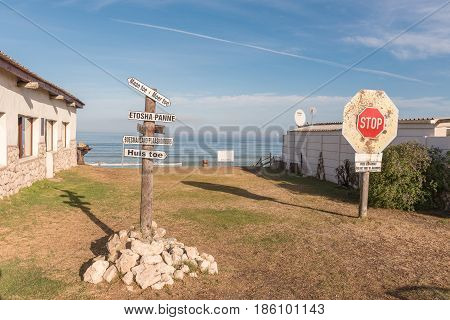 LANGEBAAN SOUTH AFRICA - APRIL 1 2017: Funny signs at Boesmanland Plaaskombuis a restaurant at Mykonos in Langebaan a town on the Atlantic Coast of the Western Cape Province