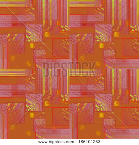 Abstract geometric seamless background. Intricate squares pattern in yellow, orange, terracotta, violet and purple shades.