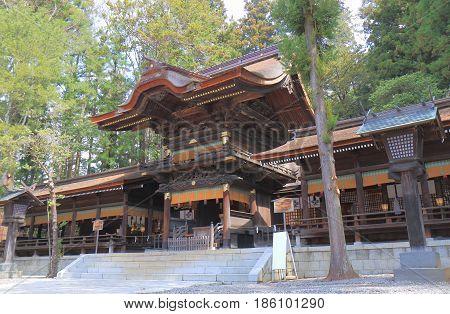 Historical Suwa Taisha shrine in Suwa city Nagano Japan. Suwa Taisha shrine is one of the oldest shrine built in 7th century.