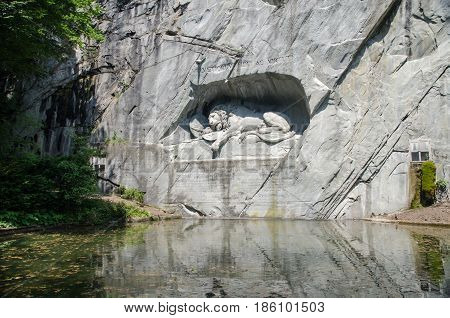 The Lion Monument Or The Lion Of Lucerne, In Lucerne, Switzerland