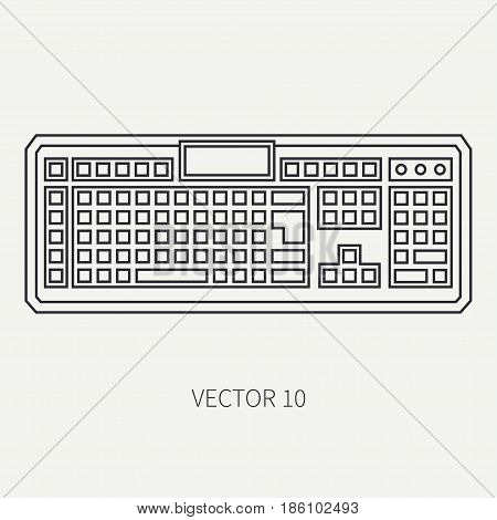 Line flat vector computer part icon keyboard. Cartoon style. Digital gaming and business office pc desktop device. Innovation gadget. Data. Internet. Illustration and element for design and wallpaper.