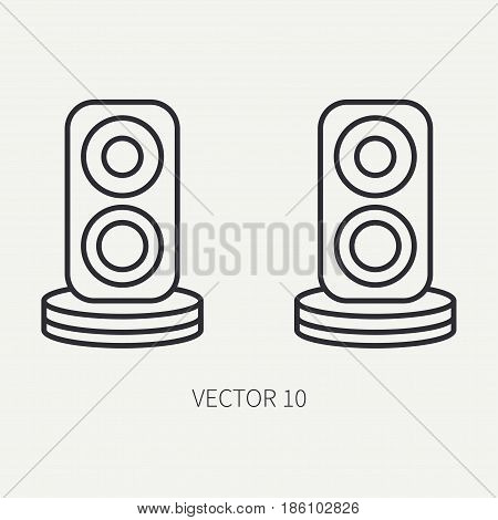 Line flat vector computer part icon audio speakers. Cartoon style. Digital gaming and business office pc desktop device. Innovation gadget. Sound loud. Illustration and element for design, wallpaper.