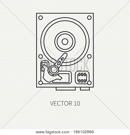 Line flat vector computer part icon data storage hdd. Cartoon style. Digital gaming and business office pc desktop device. Innovation gadget. Plate. Illustration and element for design, wallpaper.