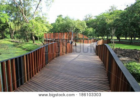 Wooden Walkway In The Park