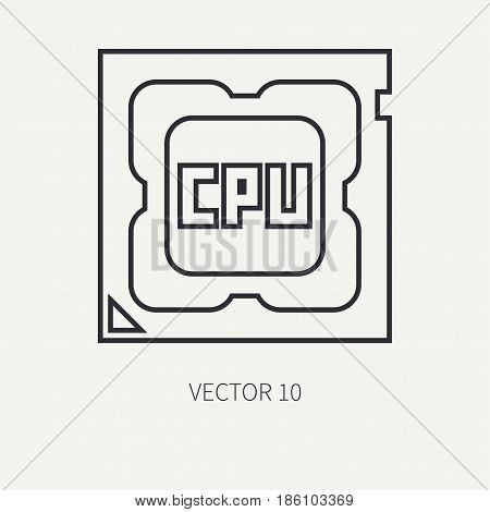 Line flat vector computer part icon processor. Cartoon style. Digital gaming and business office pc desktop device. Innovation gadget. Hardware. Chip cpu. Illustration and element for design wallpaper