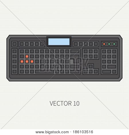 Line flat color vector computer part icon keyboard. Cartoon. Digital gaming and business office pc desktop device. Innovation gadget. Data. Internet. Illustration and element for design and wallpaper.