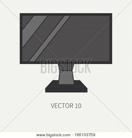 Line flat color vector computer part icon lcd video monitor. Cartoon. Digital gaming and business office pc desktop device. Innovation gadget. Internet. Illustration and element for design, wallpaper.