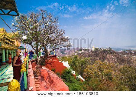 MIANDALAY,MYANMAR - MARC 6, 2017: people at Soon U Ponya Shin Pagoda in Sagaing.  near Mandalay, on March 6, 2017, Myanmar. (Burma)