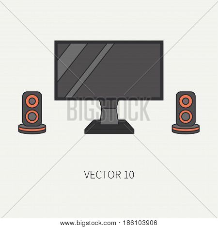 Line flat color vector computer part icon lcd video monitor. Cartoon. Digital gaming and business office pc desktop device. Innovation gadget. Speakers. Illustration and element for design, wallpaper.