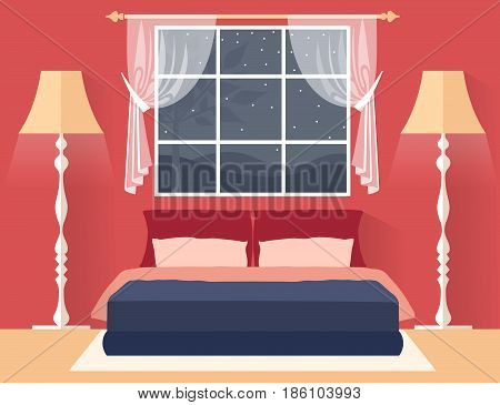 Bedroom in a flat style with furniture. Interior design vector.