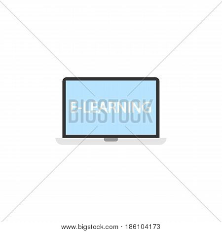 E-learning flat icon, Education and school element, laptop and online education vector graphics, a colorful solid pattern on a white background, eps 10.
