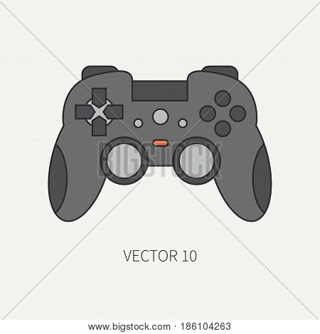Line flat color vector computer part icon joystick. Cartoon. Digital gaming and business office pc desktop device. Innovation gadget. Console gamepad. Illustration and element for design, wallpaper.