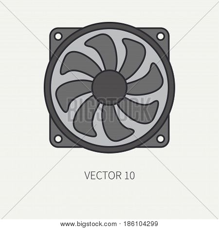 Line flat color vector computer part icon cooling fan. Cartoon. Digital gaming and business office pc desktop device. Innovation gadget. Hardware. Flow. Illustration and element for design, wallpaper.