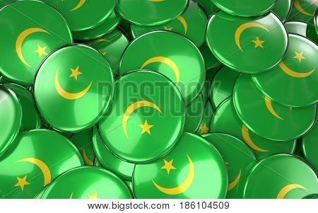 Mauritania Badges Background - Pile Of Mauritanian Flag Buttons.