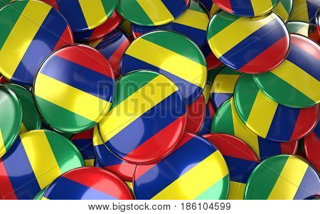 Mauritius Badges Background - Pile Of Mauritian Flag Buttons.