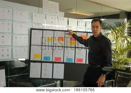 Businessman Giving A Presentation On White Board