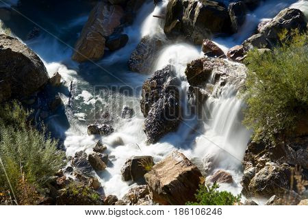 Waterfall in Tena Valley, Pyrenees, Huesca Province, Aragon, Spain.