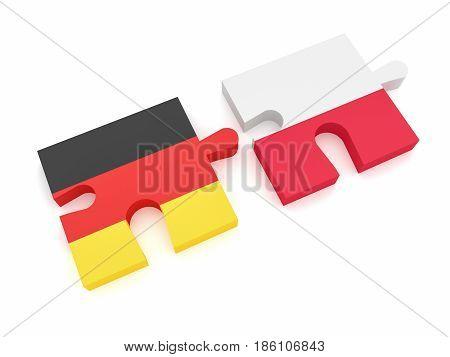 Germany Poland Partnership: German Flag And Polish Flag Puzzle Pieces 3d illustration on white background